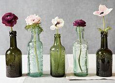 vintage bottles, window, color combos, flower centerpieces, jar