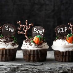 Party guests will love these frightful desserts! More #Halloween cupcake ideas: http://www.bhg.com/halloween/recipes/17-frightfully-good-halloween-cupcakes/