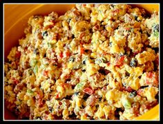 Cornbread Confetti Salad - A mix of cornbread, veggies, beans, cheese, bacon  ranch dressing all mixed together. Perfect BBQ side dish  Great for parties! Easy to make. It makes a lot so it's great for large gatherings. SOOOOO GOOD!!! soul food, sour cream, side dishes, pinto beans, bacon, ranch dressing, green onions, cornbread confetti, confetti salad