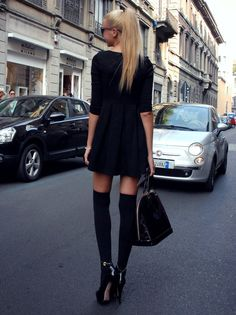 fashion, american apparel, black outfits, thighs, dresses, street styles, thigh highs, knee highs, knee high socks