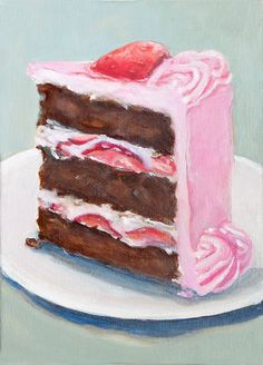 Slice Of Chocolate Cake With Pink Frosting Original Painting Still Life Home Wall Decor Food Painting via Etsy