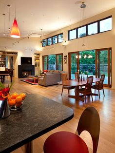 Great Room Sloped Roof High Ceiling Design Ideas, Pictures, Remodel and Decor