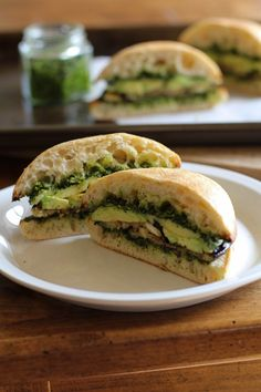 Roasted Eggplant Sandwich with Avocado and Kale Pesto.