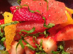 Strawberry Citrus Salad with Basil & Rosewater