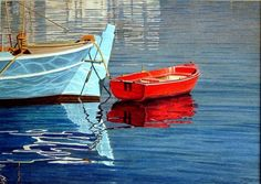 Painting-Seascape-Red Boat. Red Boat Watercolor
