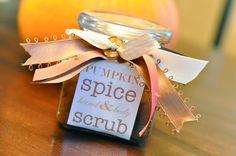 Pumpkin Spice Sugar Scrub Recipe brown sugar, gift ideas, homemade sugar scrubs, homemad sugar, spice mixes, coconut oil, pumpkin spice, pumpkin pies, christmas gifts