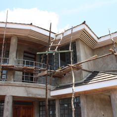 Scaffolding Kenyan style ..used by the workers daily
