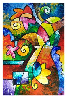 July Blooms fine art abstract floral reproduction by sallytrace, $39.00