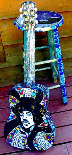 Jimi Hendrix stained glass mosaic guitar