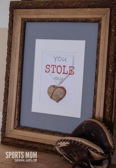 You STOLE My Heart FREE Baseball Printable  with heart made from a REAL baseball!