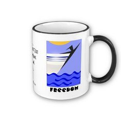 Freedom! (Personalized Ceramic Mug) - The image that graces both sides of this mug is from an original digital painting by Leslie Sigal Javorek, which captures the essence of freedom with its' Art Deco inspired Silhouette of a Happy-Go-Lucky Sailor at the bow of his boat under a glorious summer sun. Available in 2 sizes. And don't forget! Space is reserved for you to personalize this mug with your name or other message. Only @ www.zazzle.com/homearts?rf=238155573613991097