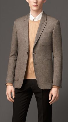 Burberry London Slim Fit Wool Cotton Blazer