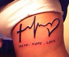 cross heartbeat heart tattoo - Google Search