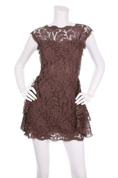 Brown lace dress (With yellow or Rose gold accessories and shoes