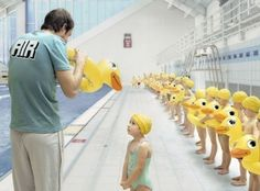 swimming pools, synchronized swimming, ducks, gregor collienn, yellow, kids, swim lesson, photography, photographi
