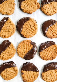 Dark Chocolate Dipped Peanut Butter Cookies {Gluten-Free}