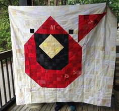 Cardinal Quilt Charley Harper Mosaic Pixel Quilt