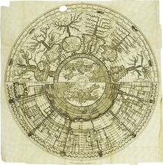 Cartographies of Time-(Historical map of Italy) by Girolamo Andrea Martignoni, 1721. A visual analogy between geographic space and historical time. chronological charts in cartographic form.   The streams at the top of the chart represent the nations conquered by the Roman Empire; those at the bottom, the nations that emerged from it; and the great central lake as the Empire itself. Martignoni's influential work is one of the first systematic visualisations of the 'stream-of-time' metaphor.
