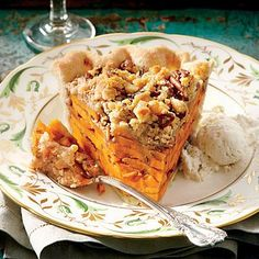 Sliced Sweet Potato Pie | We love the layered look of this ever-so-sweet streusel-topped treat. | SouthernLiving.com :PeachDish #peach #georgia #meal #delivery #appetizer #entree #dessert #fortwo #$20 #weekly #cook #kitchen #dinner #fresh #ingredients #recipe #instagram #chef www.PeachDish.com