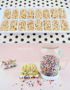 Why didn't we think of this? Sprinkle-topped Rice Krispy Treats are perfectly portioned for kids when made in ice cube trays. #birthdayparty