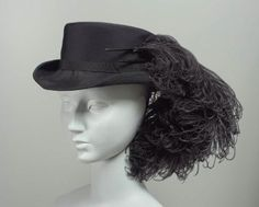 24-10-11  Riding Hat 1915, French, Made of rayon and ostrich feathers
