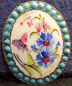 Antique French Hand Painted Enamel Button w/Flower Spray & Butterfly