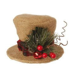 "RAZ Burlap Top Hat Christmas Decoration  Made of Burlap Measures 3.5"" X 5"" For Decorative Use Only   RAZ Exclusive Design Natural colored burlap top hat with red band, sprig of"