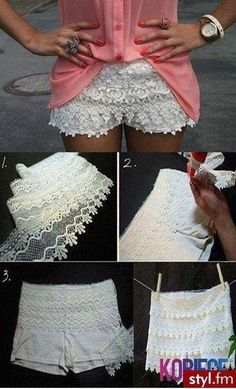 Cool DIY lace shorts in dark blue with tights and same style shirt/scarf for fall et voila!