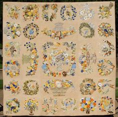 Une Belle Amitié (A Beautiful Friendship) by Cynthia Williford.  A re-creation of a Baltimore-album style quilt attributed to Mary Simon, in the Metropolitan Museum of Art.  The entire project took us 8 years, from drafting to sewing and quilting.  All hand appliqued and quilted.