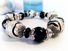 Black and White Harlequin Bracelet - Joyous! by LyndaHayesDesigns,