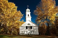 Sutton church in NH with golden color all the way to the blue sky and beyond.