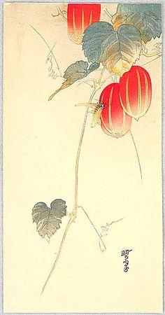 Gyosui Kawanabe 1868-1935  Bee and Red Fruit #brushpainting #fineline #Ink and Wash Painting #Chinese Art #Japanese Art