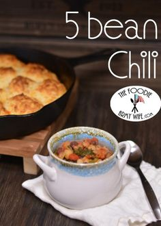 Five Bean Chili is a meatless chili – healthy and flavorful yet hearty enough to satisfy meat lovers. In addition to being healthy, this is also a budget-friendly supper. From The Foodie Army Wife #SundaySupper