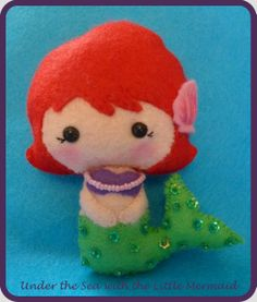 my little mermaid small felt doll, made with a pattern by ginger melon x