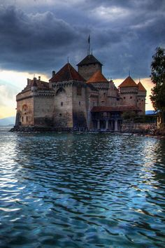 Chillon Castle, Lake Geneva in the commune of Veytaux, at the eastern end of the lake.