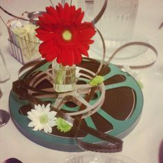 Event Coordinator Liz Atwood created this centerpiece out of old film reels for a recent CAHS event.