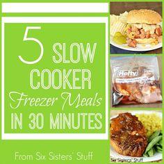 dinner, crock pot, crockpot, 30 freezer meals, freezer slow cooker recipes