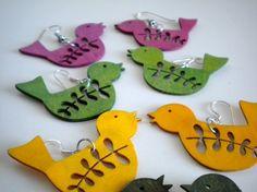 Yellow Wooden Bird Earrings by EridaneasBoutique on Etsy, $15.00