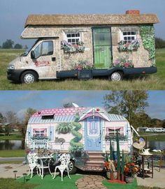 On the move home..so cute...This would be fun to do with an old city bus with a lift