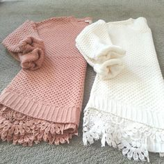 cute & cozy sweaters. Love the lace underneath and the colors. Would look well with khakis or olive colored jeans.