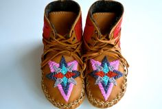 Childrens handmade leather beaded moccasin