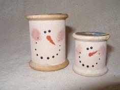 vintage wooden spool snowmen
