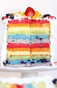 I am determined to make this rainbow cake using fruit as dyes.  I'll experiment to see which fruit makes the best color and flavor. For example, is the red layer best with mashed strawberries, raspberries, beets, cherries, watermelon, pomegranate, or a combination?