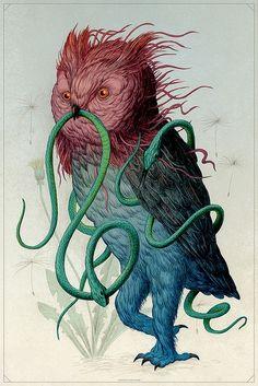 wall art, artists, snake, animal illustrations, the artist, illustration art, nick sheehi, clocks, owls