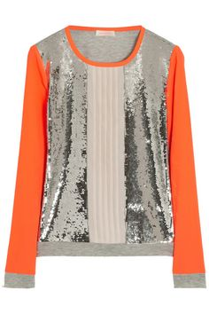 SASS & BIDE The Diverge sequined chiffon and jersey top