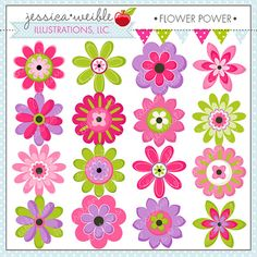 Flower Power Cute Digital Clipart - Commercial Use OK - Flower Clipart, Flower Graphics, Pink Flowers