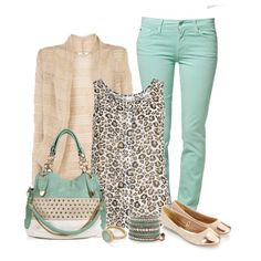 i have jeans like those ... a leopard-print shirt like that ... i suppose with cute flats and maybe a knit top, this could work :)
