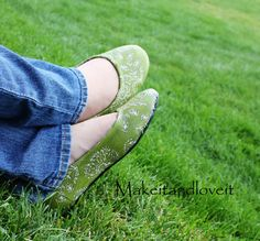 Mod Podge fabric onto old shoes!