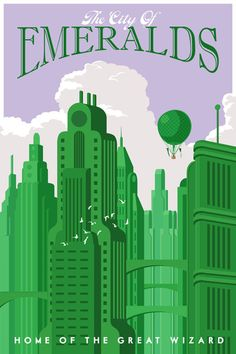 """More literary travel posters... """"The City of Emeralds: Home of the Great Wizard"""" from Steve Thomas Art & Illustration travel posters."""