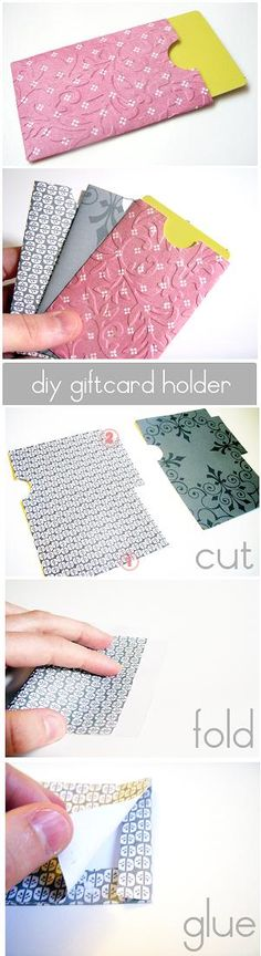 DIY Gift Card Holder... could also be a cute way to send your business card out with an Etsy order :)